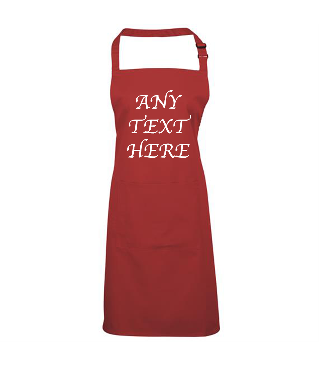 ANY TEXT APRON RED